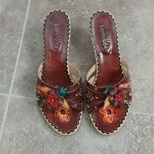 Boutique leather heeled sandals size 8